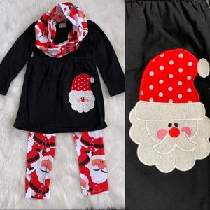 Little Girls Santa Clause 3 Piece Outfit